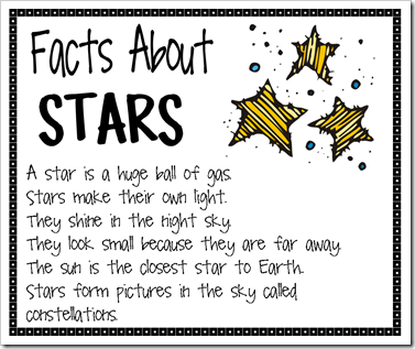 Today we read books about the stars and learned lots of interesting ...